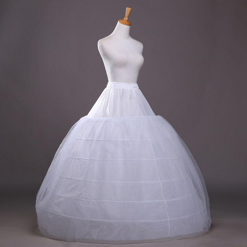 Women Single Layer Petticoat 6 Hoops Floor Length Mesh Wedding Accessories