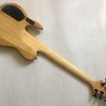 6 струн активная бас гитара дерево burl Топ кленовый гриф 43 дюймов 24 Лады глянцевый натуральный цвет электрическая бас гитара
