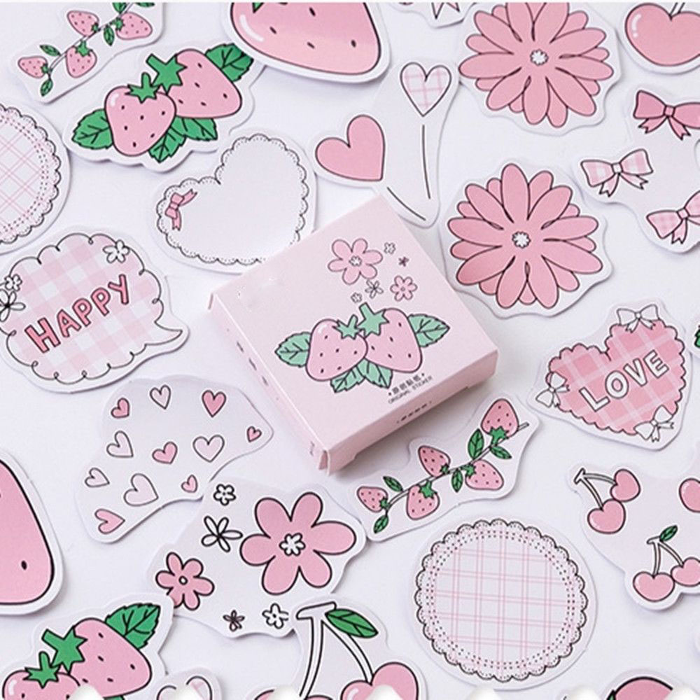 45pcs/lot Strawberry Flavor Series Cute Boxed Kawaii Stickers  Scrapbooking Stationery Japanese Diary Stickers