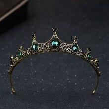 Лидер продаж, винтажные диадемы и короны в стиле барокко с зеленым кристаллом, головной убор Noiva, свадебные украшения для волос, Свадебная вечеринка, диадема