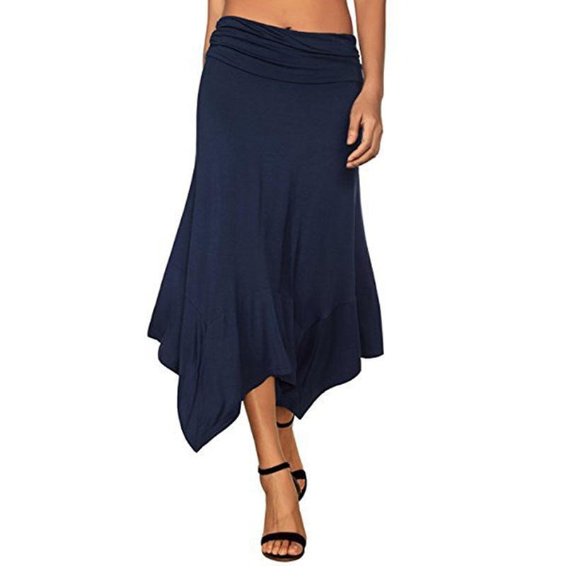 Solid 2020 Women Irregular Skirt Solid Work Wear Package Hip Asymmetrical Long Skirt Autumn Winter Bodycon Femininas