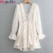 Elegant Party Dress Women 2019 Layered Ruffled White Party Dress Female Lace Up V Neck Long Sleeve A-line Mini Ladies Dress недорого