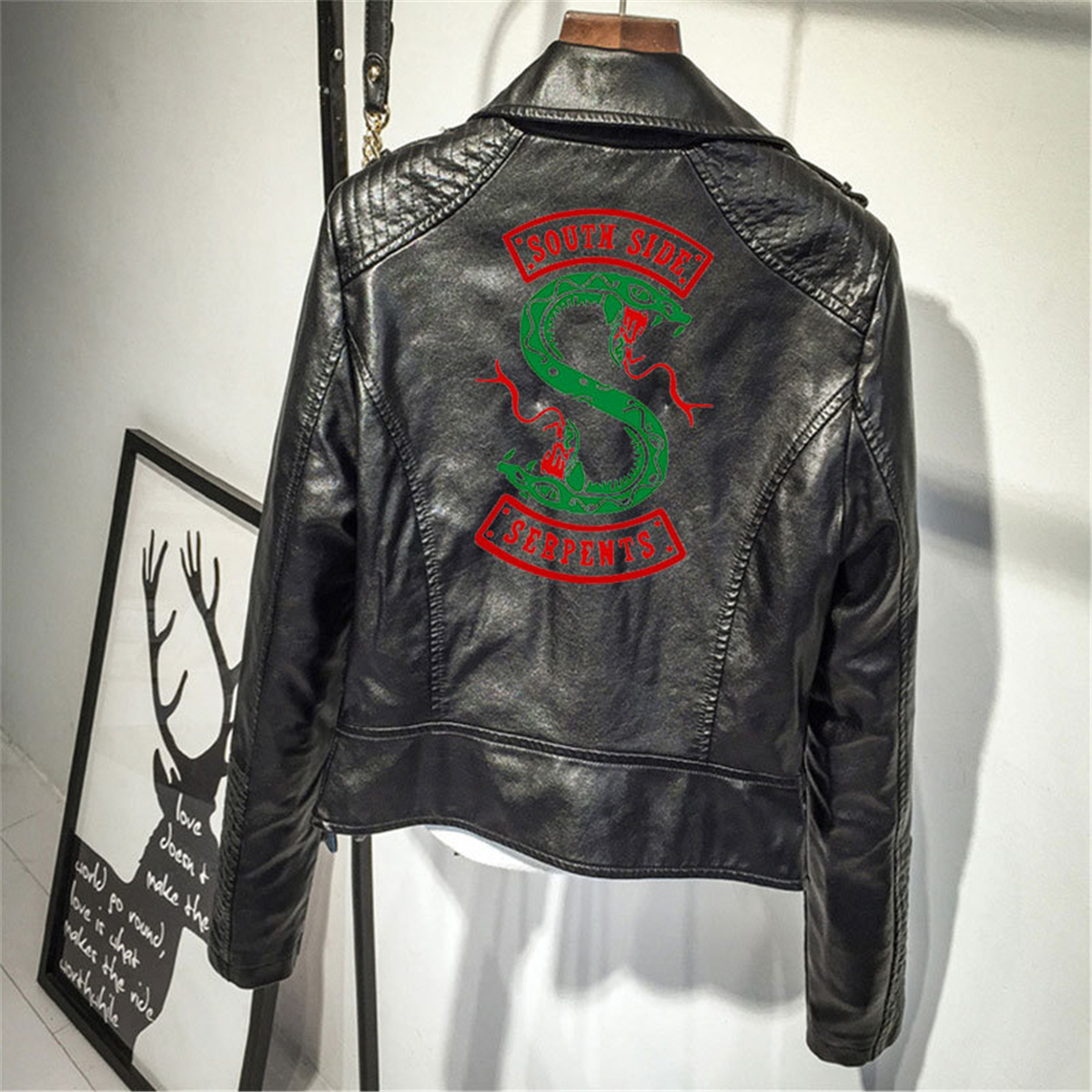 Riverdale sud Serpents imprimé Logo PU vestes femmes Streetwear Harajuku Hip Hop serpent manteau TV spectacle Halloween