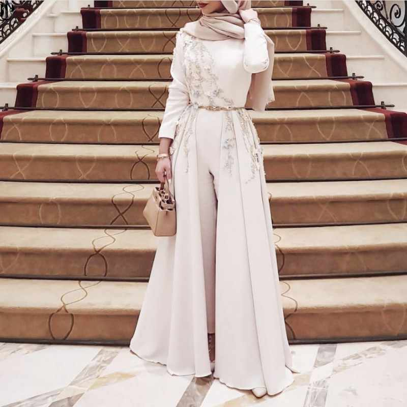 Muslim Evening Dress With Appliques Long Sleeves Robe Soiree Islamic Dubai Hijab Party Dress Pantsuit Overskirts Prom Dress Evening Dresses Aliexpress