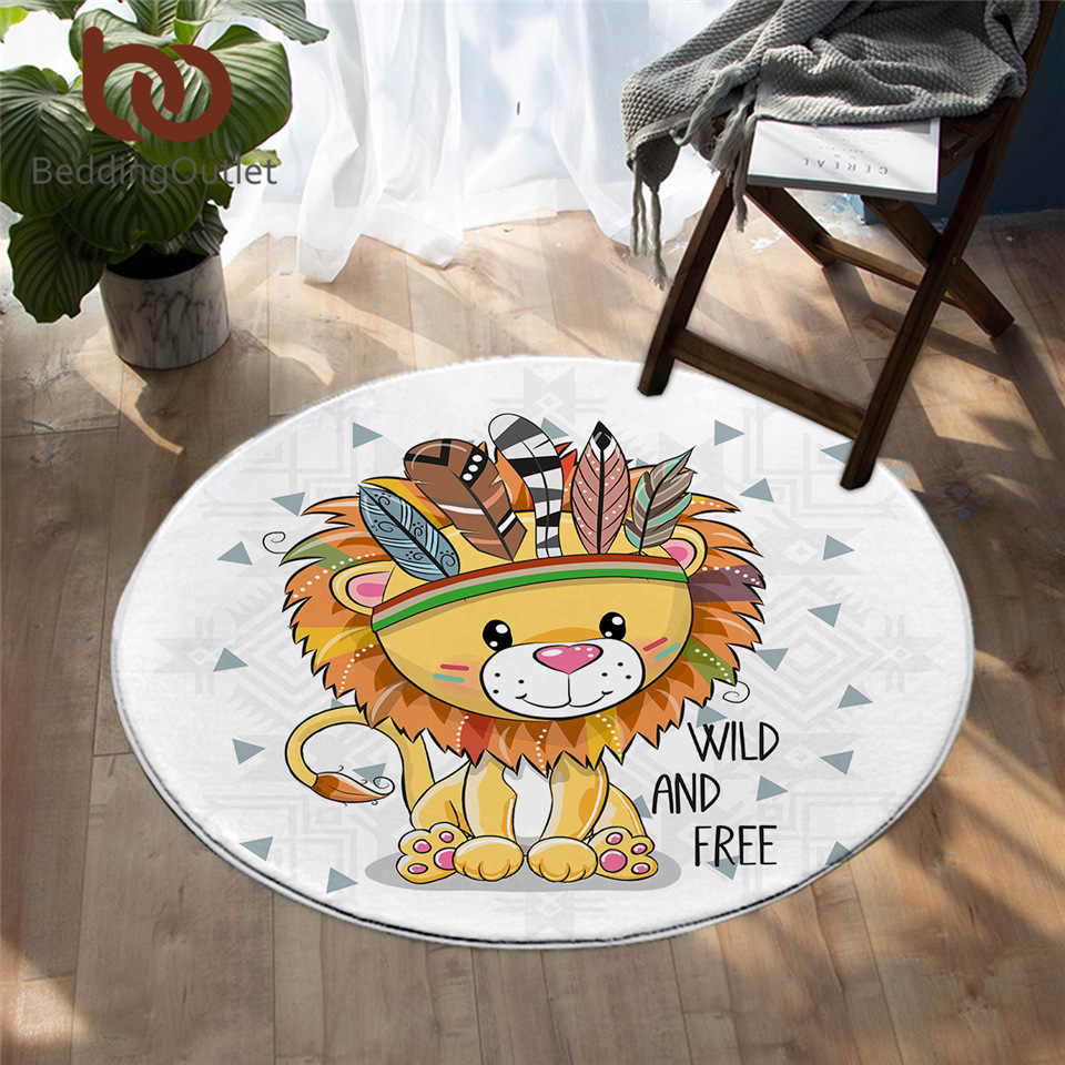 BeddingOutlet Cartoon Animal Round Carpet Cute Lion Owl Pug Floor Mat Feather Aztec Area Rug Colorful Non-slip Play Mat Dropship