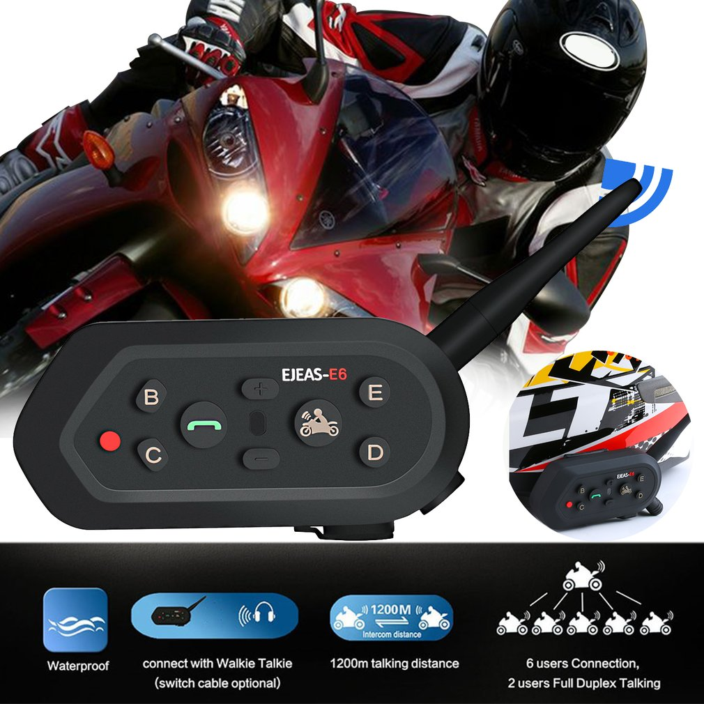 Motorcycle Walkie-talkie Headset Outdoor Full-duplex Real-time Call Wireless Helmet Intercom Headset E6