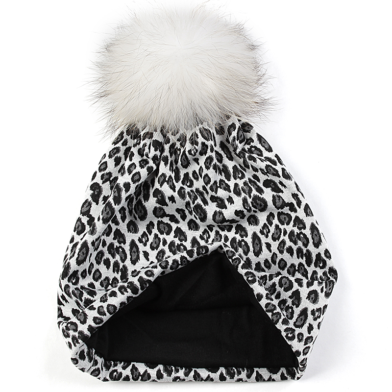 Geebro Women Leopard Print Soft Elastic Beanies Adult Lady Warm Skullies Hats Female With 15cm Real Fur Pompom Caps Bonnet