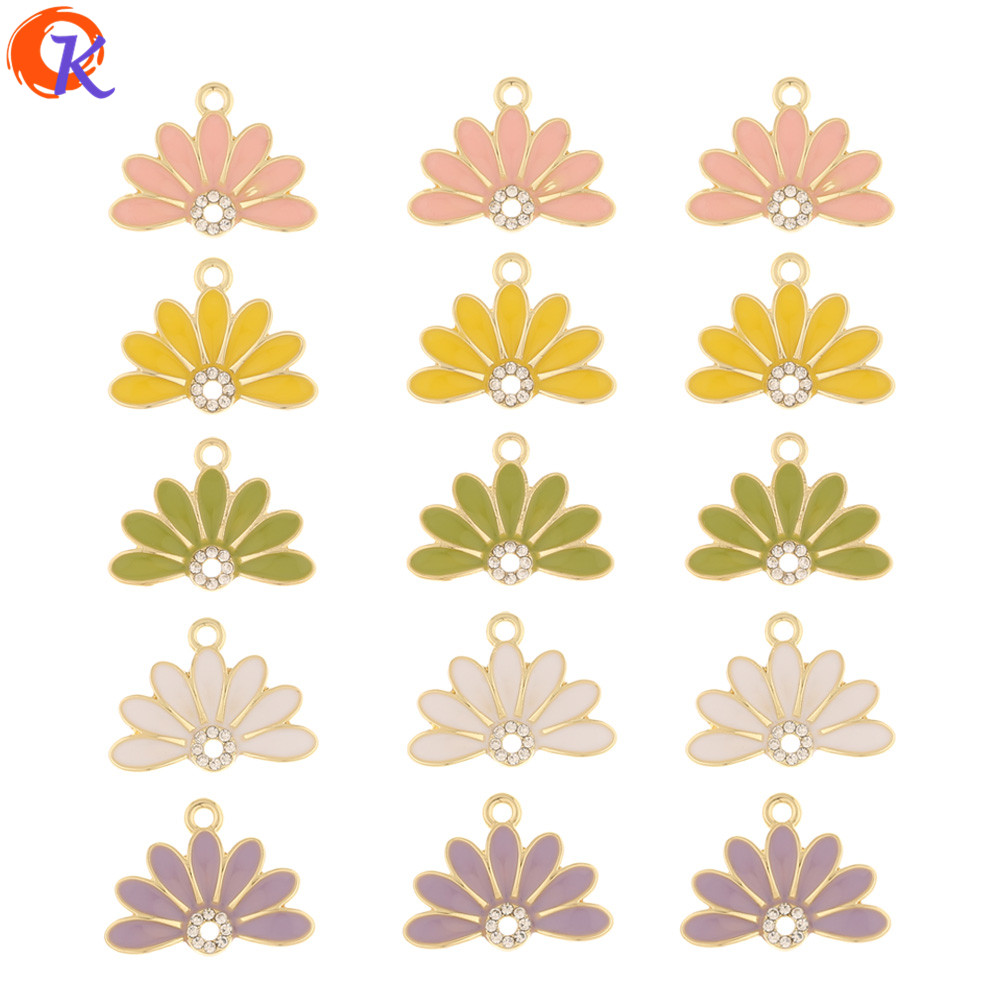 Cordial Design 50Pcs 16*21MM Jewelry Accessories/Rhinestone Charms/Flower/Shape/Paint Effect/Hand Made/Earring Findings/DIY Part