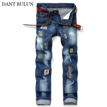 Men's Ripped Jeans Slim Fit Holes Distressed Embroidery Patchwork Denim Pants Casual Trousers Hip Hop Fashion Jeans Hombre hot 2019 fashion casual jeans denim leg zipper hip hop locomotive distressed dance boys biker jeans ripped holes men s trousers