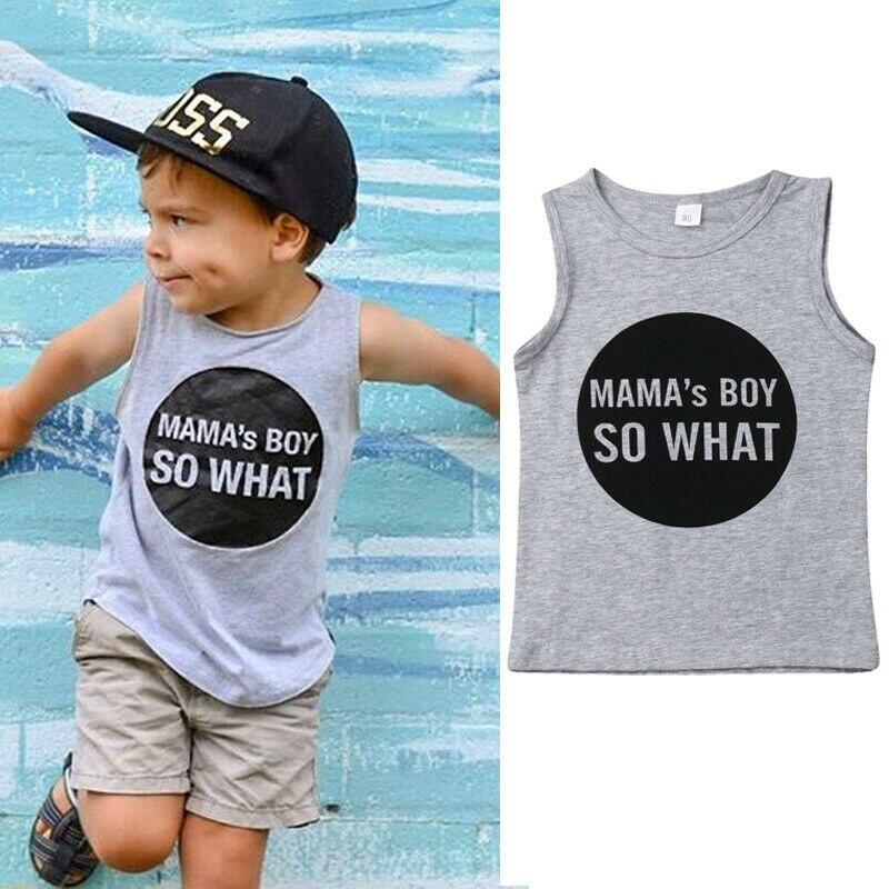 2019 Kids Boys Children Vests Gray Vest Cotton Summer T-shirt Tops Age 1-7Y