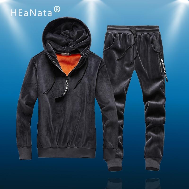 Sport Suit Men Winter Double-side Velet Two-piece Tracksuit Jogging Suit Warm Running Set Men Outfit Sportwear Brand Men Clothes