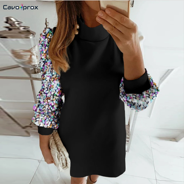 Women Colorblock Insert Mock Neck Lantern Sleeve Sequins Dress Shining Sparkly Cocktail Party Vestido