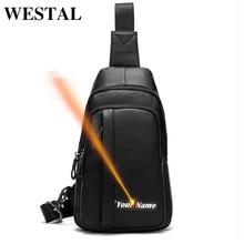 Westal masculino saco de cinto preto sacos de peito de couro genuíno casual viagem pacote de peito sacos de mensageiro de couro masculino sling bags masculino 707