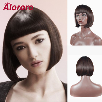Alororo Bob Synthetic Wig Natural Short Wig with Bangs 10inches Heat Resistant Brown Red Wigs for Black Women 2 6 inch bob short wig with flat bangs black 100% breathable realistic high temperature resistant synthetic wig
