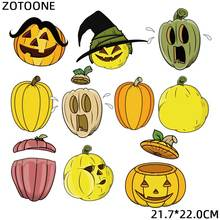 ZOTOONE Big Size Cute Halloween Patches Pumpkin Sticker Iron on Transfers for Clothing Diy Heat Transfer Accessory Appliques G