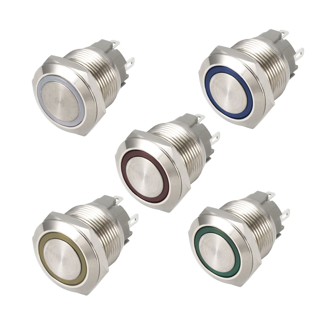 uxcell Push Button <font><b>Switch</b></font> Latching/Momentary Metal <font><b>19mm</b></font> Mounting Hole Dia. 1NO 12V White/Yellow/Blue/Green/Red <font><b>LED</b></font> Light image