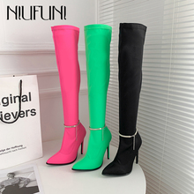 Women's High Boots Pointed Stiletto High Heels Stretch Cloth Over The Knee Boots Fluorescent Color Buckle Chain Silk Women Boots