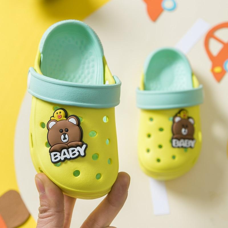 Baby Beach Shoes Kids Girls Boys Slippers Cute Bear Eva Children Sandals 2020 Summer Hole Slippers For Kids Croc Toddler Shoes
