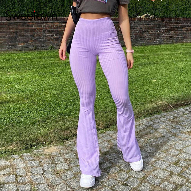 Sweetown Purple Ribbed Joggers Women Knitted Flare Pants Slim High Waist Aesthetic Trousers Female Vintage 90s Sweatpants 3