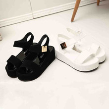 2019 Women's Fashion Summer Shoes Solid Peep Toe Casual Wedge Platform Hook & Lo