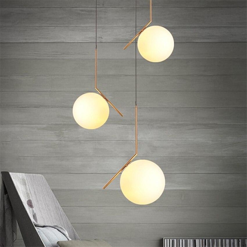 LED nordique boule lampes suspendues luminaires salle à manger chambre pendentif LED givré lumières verre ombre douille lampes suspendues Luminaire