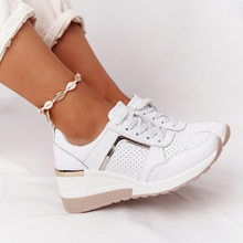 Women Shoes Breathable Leather Lace-Up Sneakers Wedge Sports Shoes Women's Vulcanized Shoes Casual Platform Ladies Office Flat