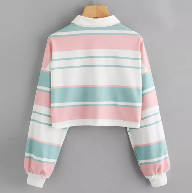 Harajuku Sweatshirt Women Striped Crop Top Hoodies Streetwear Autumn 2019 Woman Clothes Kawaii Korean Hoodie Moletom Feminino 1