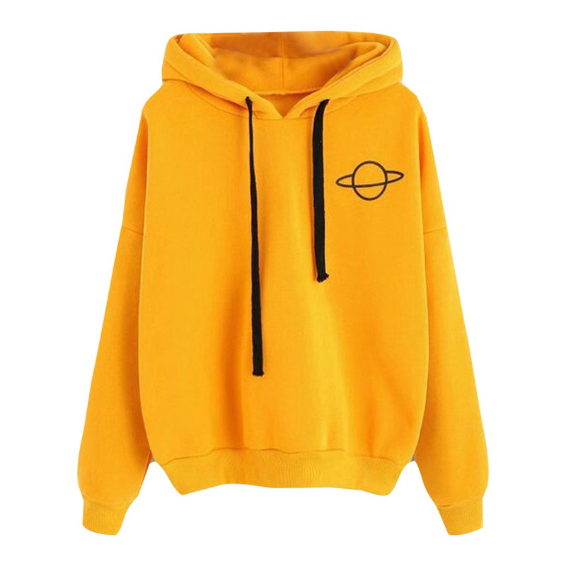 Women Hoodies Casual Print Solid Loose Drawstring Sweatshirt Long Sleeve Hooded 2019 Autumn Female Pullover Plus Size Kpop O28