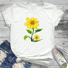 Летняя женская футболка с графическим принтом подсолнуха красивым