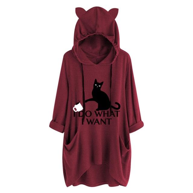 #Z40 Plus Size 5XL Hoodies Women Cartoon Print Cat Ear Hooded Long Sleeve Pocket Loose Sweatshirts Tracksuit Spring Autumn Tops 4