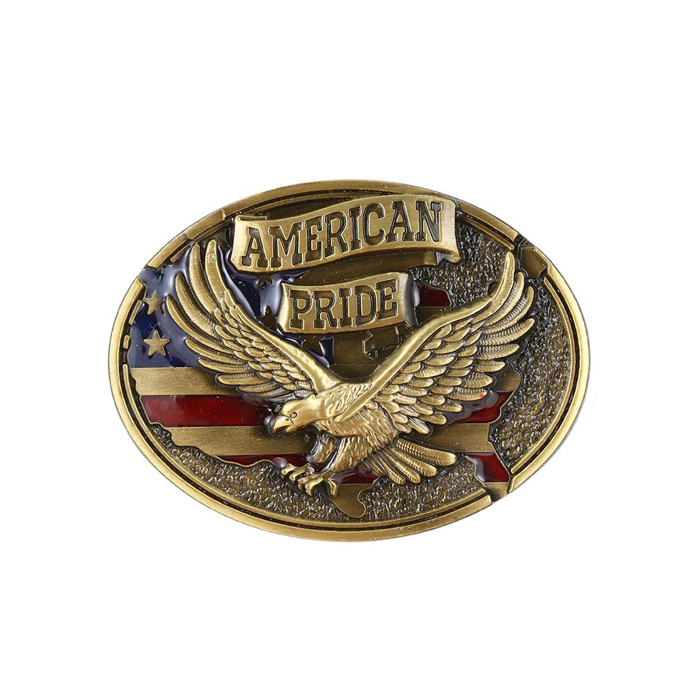 American Pride Copper Belt  Buckle For Man Western Cowboy Buckle Without Belt Custom Alloy Width 4cm