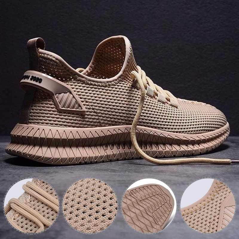 Yeni örgü erkekler rahat ayakkabılar-up erkek ayakkabısı hafif rahat nefes yürüyüş spor ayakkabı Tenis Feminino Zapatos