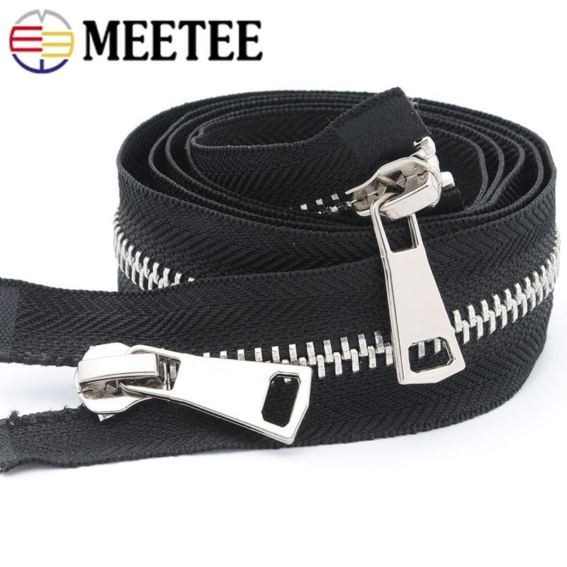 Meetee 8# 70/80/100/120cm Double Open End Metal Black Zipper Clothing Jacket Coat Outdoor DIY Sewing Accessories AP494