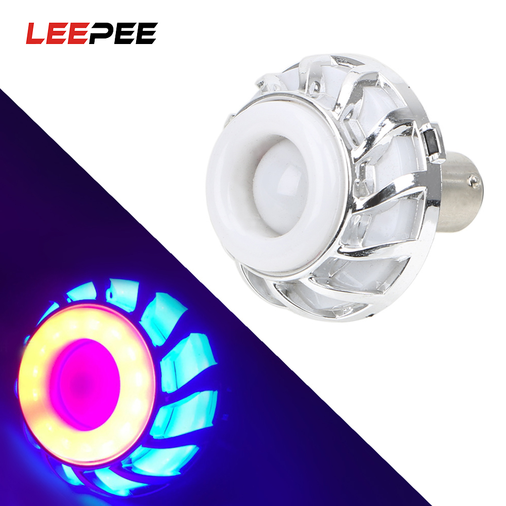 LEEPEE Motorcycle LED Brake Tail Light Colorful Lights Angel Eye Flashing Tail Light DC12V ABS Moto Daytime Running Signal Light