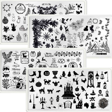 Nail Art Stamping Plates Christmas Halloween Feather Necklace Manicure 6.5*12cm Image Plate Festive