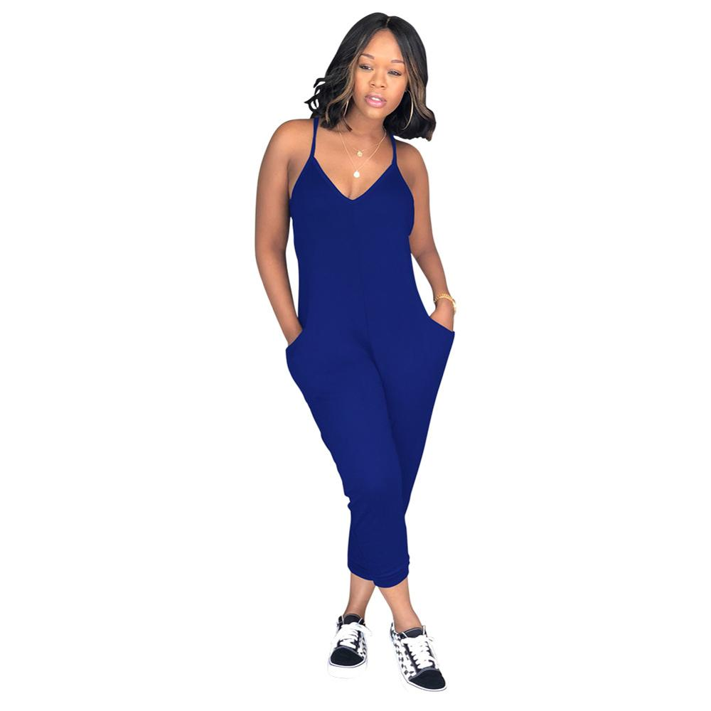 Deep V-Neck Sexy Pockets Jumpsuits Women Summer 2020 New Casual Solid Color Strappy Jumpsuit Plus Size S-3XL Cotton Jumpsuits