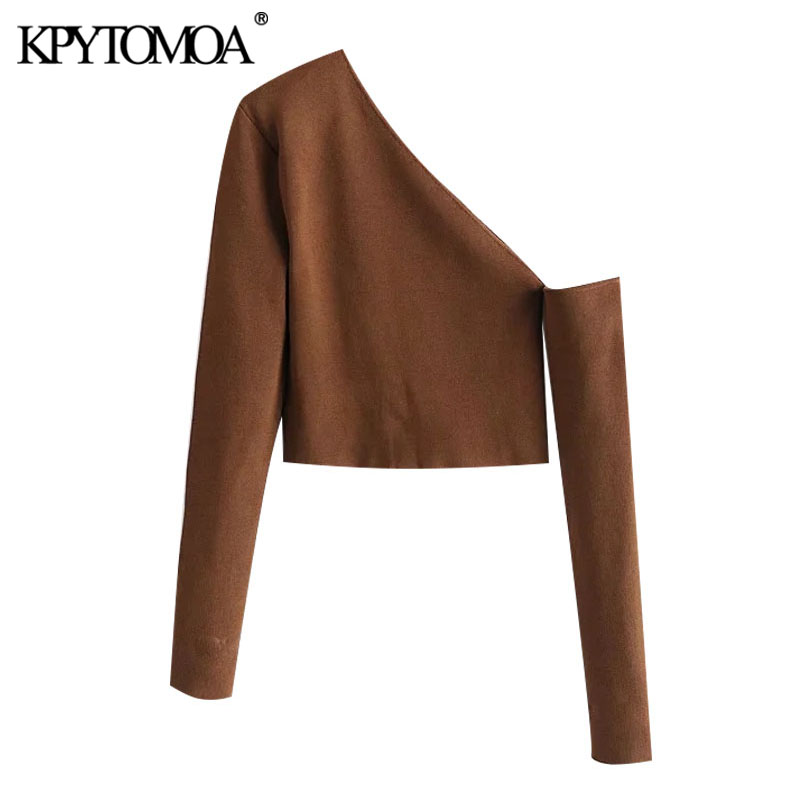 KPYTOMOA Women 2021 Fashion Hollow Out Cropped Knitted Sweater Vintage Asymmetric Neck Long Sleeve Female Pullovers Chic Tops
