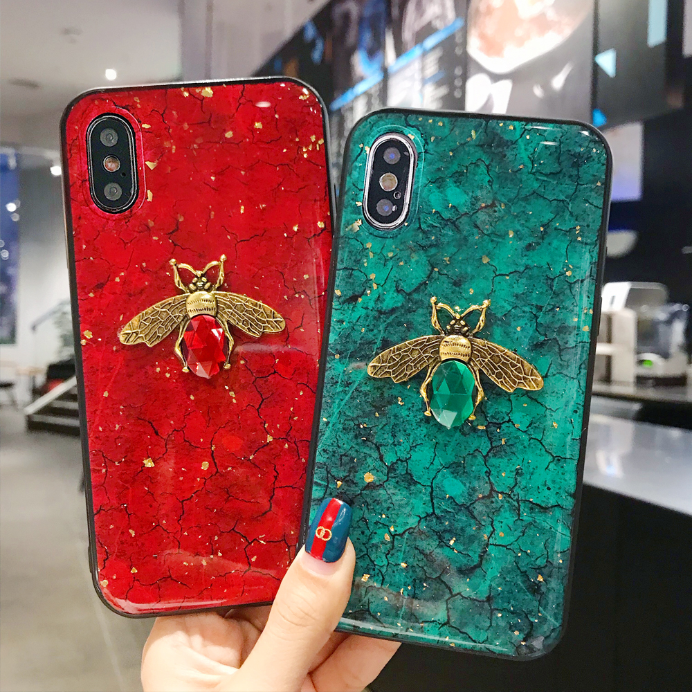 Bling Bee Phone Case For Xiaomi Redmi Note 8 7 6 5 Pro Note 4 4X 4A 5A 5 Plus 6 6A 7 7A 8A S2 K20 Pro Marble Glitter Cover Coque