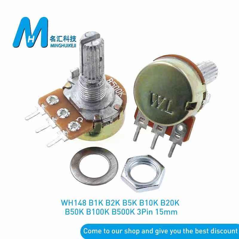 WH148 3-контактный потенциометр 15 мм с гайками B1K 2K B5K B10K B20K B50K B100K B250K B500K B1M
