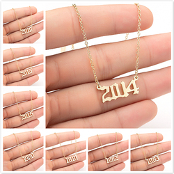 Unique Commemorating Year Number Stainless Steel Necklace for Women Girls 1990 1991 1992 1993 1994 2019 Collar