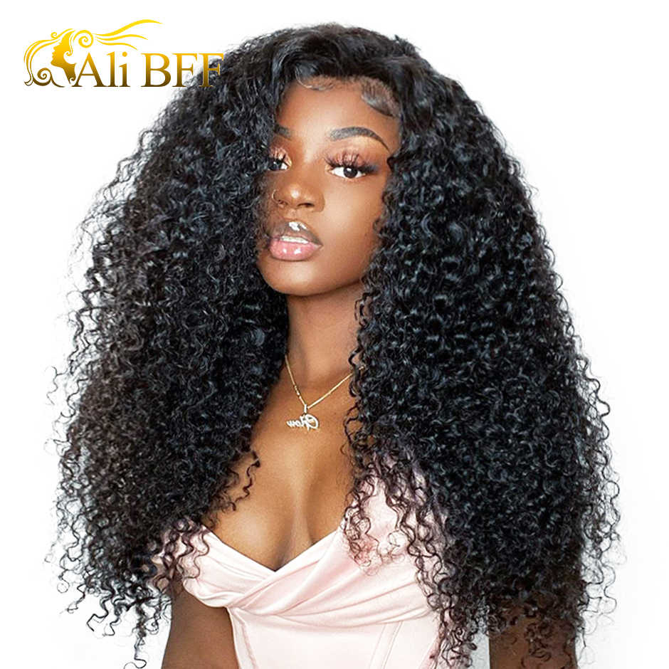 Kinky Curly HD Transparent Lace Frontal Wigs For Women 13x4 ALI BFF HAIR Human Hair Wigs Mongolian180% Density Lace Front Wigs