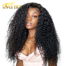 Kinky Curly HD Lace Frontal Wigs For Women 4x4 ALI BFF HAIR Human Hair Wigs Mongolian180% Density Lace Front Wigs(China)