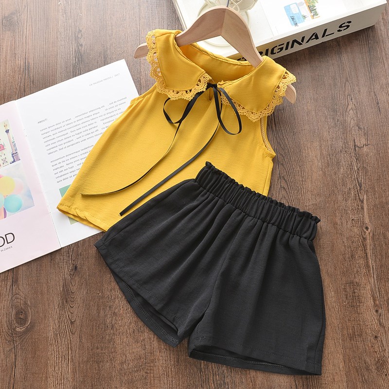 Menoea Girls Suits 2020 Summer Style Kids Beautiful Floral Flower Sleeve Children O-neck Clothing Shorts Suit 2Pcs Clothes 10