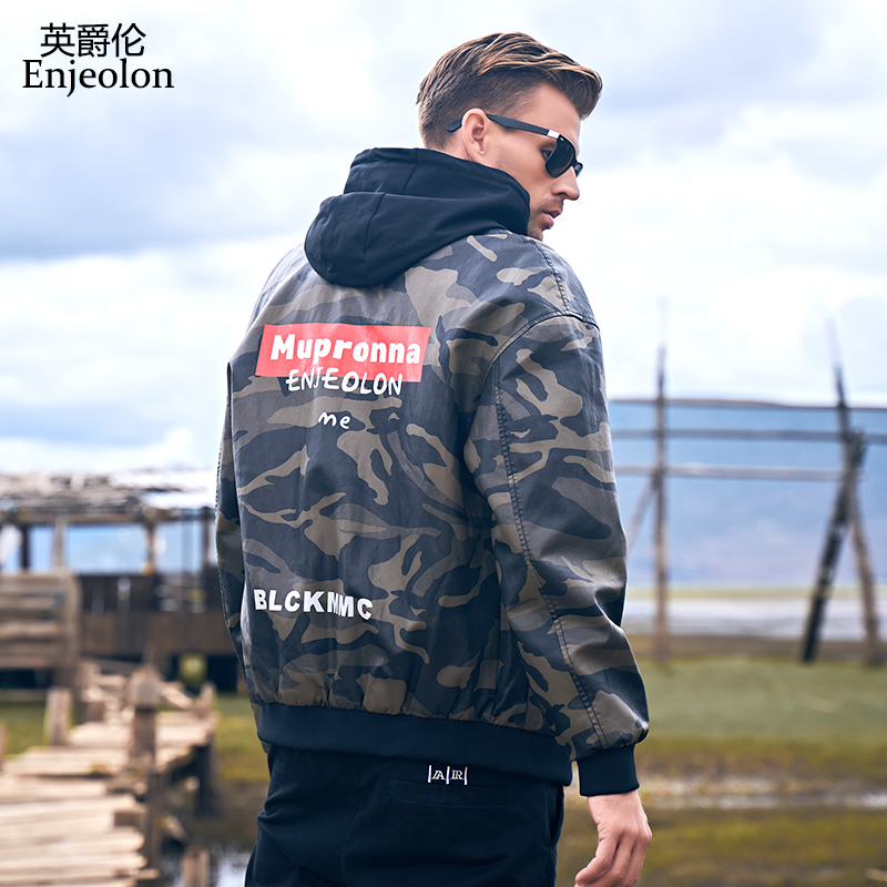 Enjeolon Brand Men's Leather Jackets Autumn Winter New Casual Motorcycle Camouflage PU Jacket Leather Coats Male Jackets P408