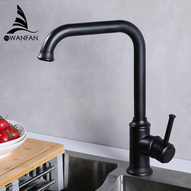 Kitchen Faucets Brass Kitchen Sink Water Faucet 360 Rotate Swivel Faucet Mixer Single Holder Single Hole Black Mixer Tap 18059