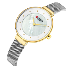 CURREN Montre Femme Casual Women Romantic Gift Watch Silver Stainless Steel Particular Dial Wristwatch Mesh Quartz Outdoor