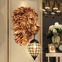Modern European style luxury wall lamp creative LED art deco lion light fixture for living room study Cafe bar lamp lights e27