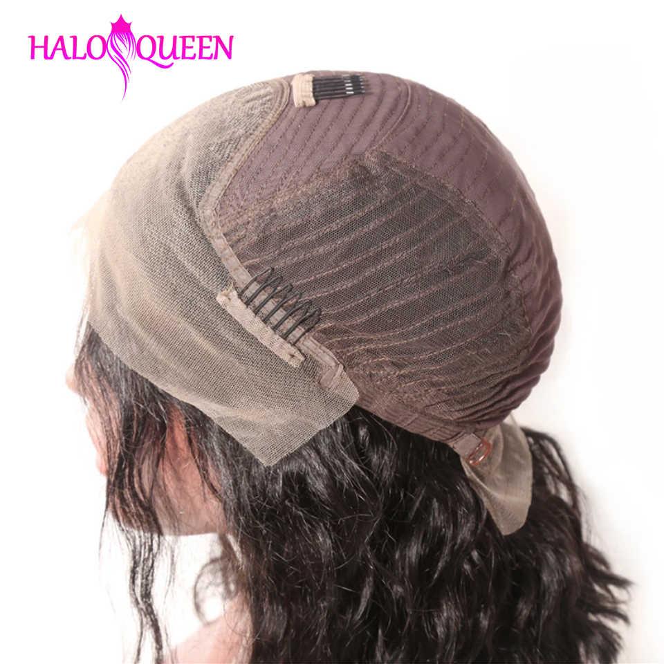 HALOQUEEN pelucas de pelo humano con frente de encaje corto Peluca de Bob para mujeres negras Peluca de pelo brasileño no Remy predesplumado con Peluca de bebé