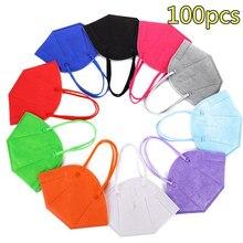 Masque de protection facial, 5 couches, réutilisable, 100 pièces, FFP2, FFP3, PM053