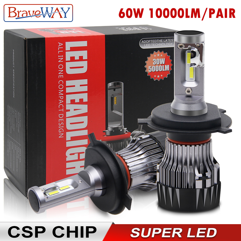 BraveWay CSP Chip Headlight Bulbs H4 H7 H8 H9 H11 LED Lamps For Car 12V 9005 HB3 9006 HB4 9012 HIR2 H4 Led Bulbs For Motorcycle
